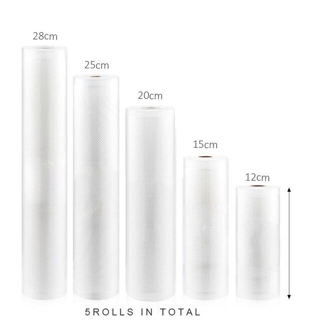 Eworld emballage sous vide rouleaux sous vide sac plastique sacs de rangement maison scelleur sous vide économiseur alimentaire 12 + 17 + 20 + 25 + 28cm * 500cm 5 rouleaux/Lot