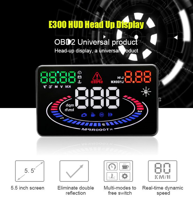 Primera Visual 2D Coche E300 5.5 Pulgadas Coche HUD Cabeza de Datos hasta la Pantalla de Ajuste Automático de Brillo Multi Color OBDII o EUOBD Competiable