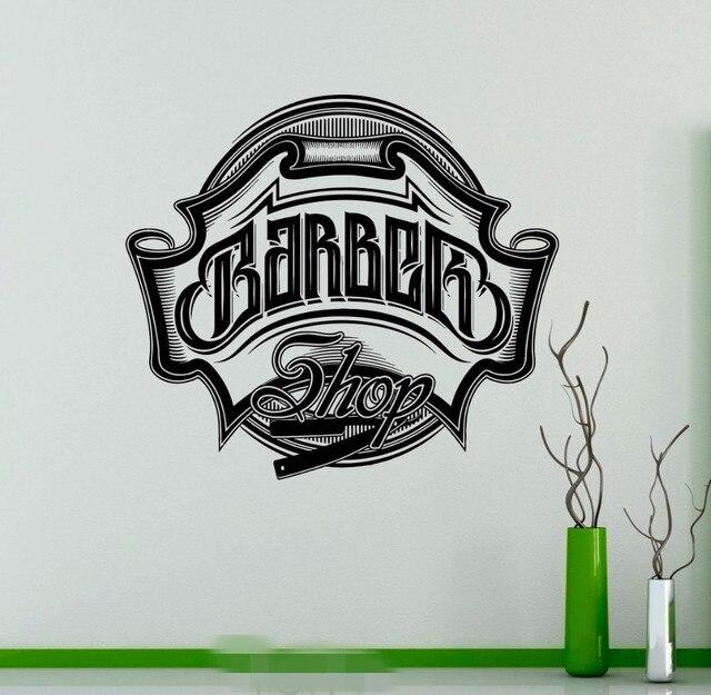 Penteados Salão de cabeleireiro Barbearia Emblema Logotipo Decalque de  Vinil Adesivo de Parede Decoração de Interiores