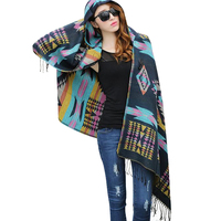 New Fashion Fringe Ethnic Geometric Women Batwing Cape Poncho Knit Top Cardigan Sweater Coat Hip Scarf