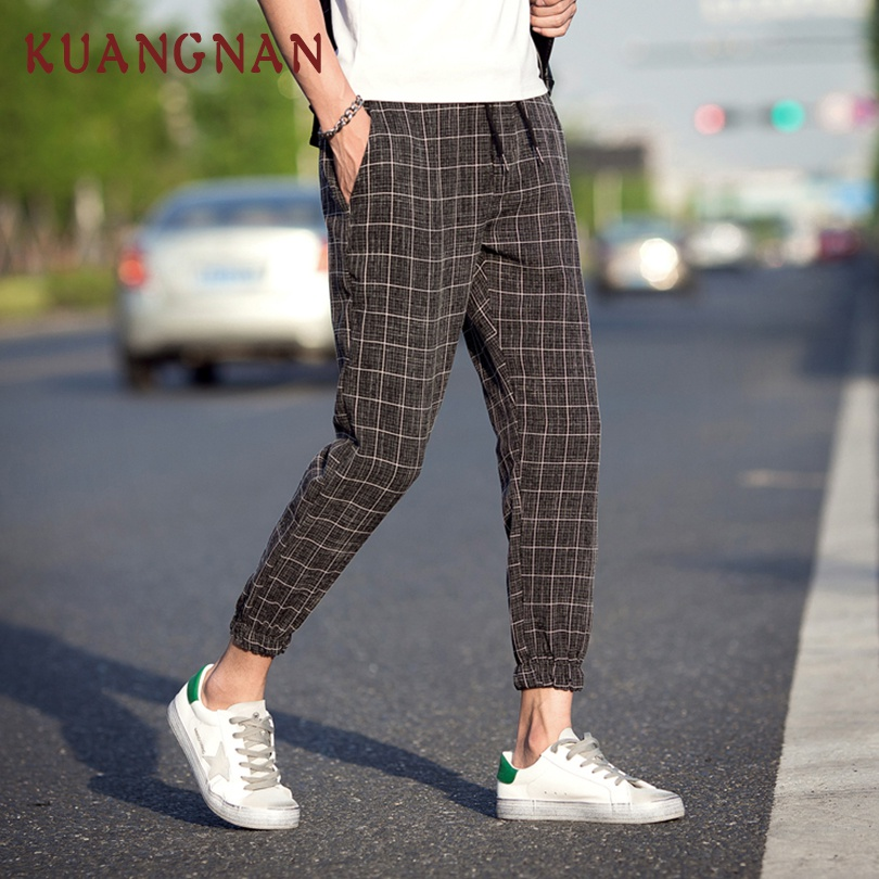 KUANGNAN Men Trousers Jogger-Pants Ankle-Length-Pants Plaid Japanese Streetwear Hip-Hop