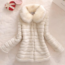 Daisy & Na Warm Faux Rabbit Fur Outwear Slim Women Coat Faux Fox Fur Collar Overcoat 194