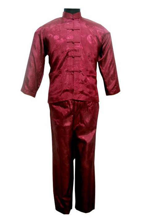 زائد حجم XXXL الصينية نمط الرجال بيجامة من الساتان مجموعة خمر زر البيجامة دعوى طويلة الأكمام ملابس خاصة قميص وبانت نوم