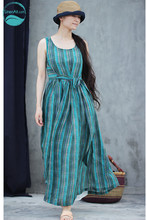 LinenAll summer cool ramie twist green abstract pattern round neck sleeveless waistline dress