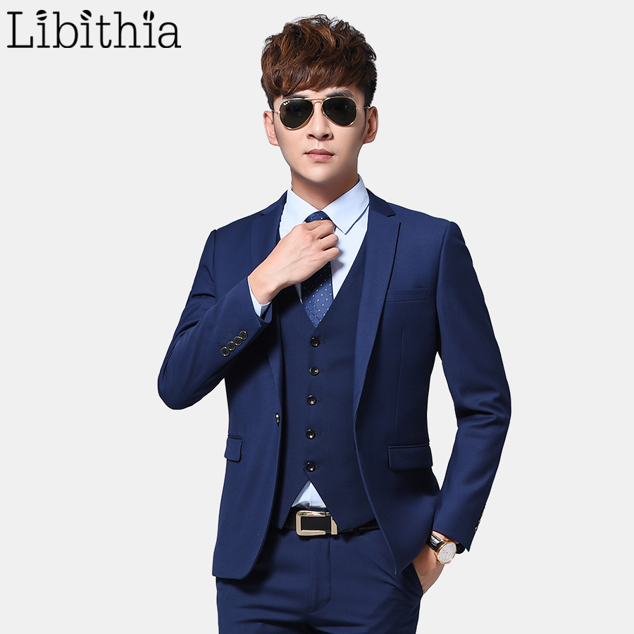 3 Pieces Men Formal Slim Fit Suits Men Work Suits Blazer Costume Black Grey Blue Navy Wedding Dress Jacket And Pant And Vest