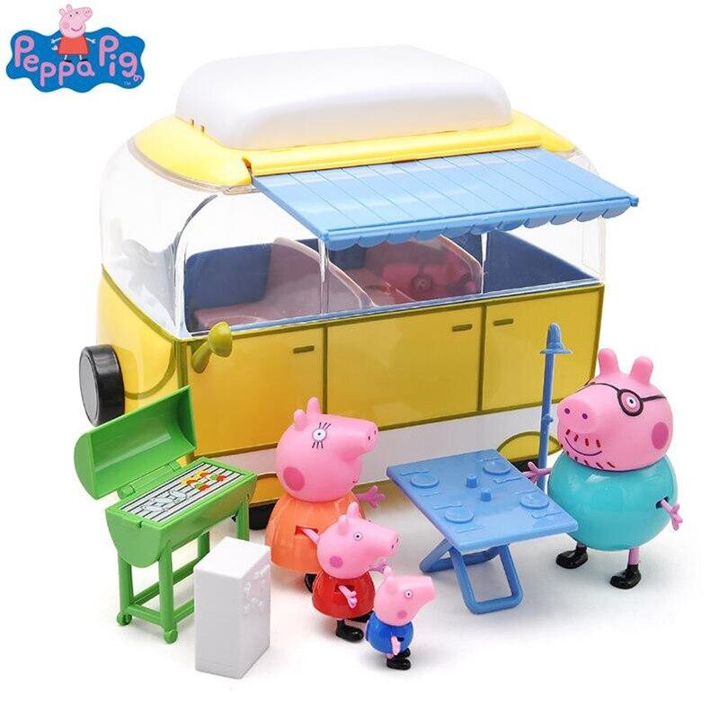 <font><b>Peppa</b></font> <font><b>pig</b></font> George Pink <font><b>pig</b></font> <font><b>Family</b></font> car Action Figures <font><b>Pack</b></font> Camping car suit <font><b>Peppa</b></font> <font><b>Pig</b></font> Figura Kids Birthday Gift Toy