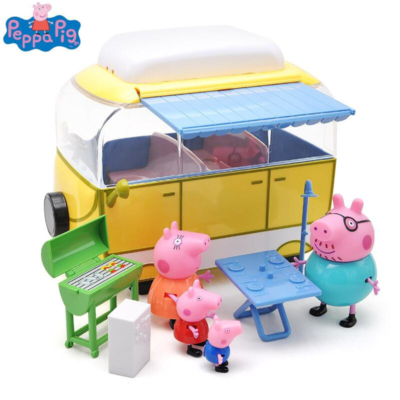 Peppa pig George Pink pig Family car Action Figures Pack Camping car suit Peppa Pig Figura Kids Birthday Gift Toy genuine peppa pig 44cm cartoon peppa s toy ukulele kids toys gift fun to learn perfect way for kids to get started with music