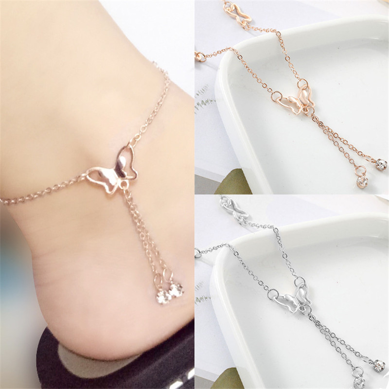 S078 Butterfly Pendant Anklets Foot Chain Summer Yoga Beach Leg Bracelet Handmade Anklet Rose Gold Silver Color Jewelry