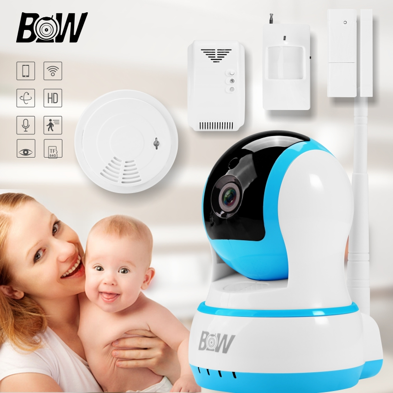 Free Shipping Network Wireless IP Camera WiFi +Door Sensor/Infrared Motion Sensor/Smoke/Gas Detector Monitor Alarm System BW13B wireless security camera wifi motion sensor ip baby monitor door sensor gas detector video surveillance alarm system bw12y