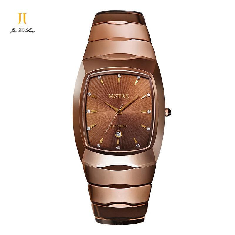 Марка Mstre Вольфрам Сталь модные роскошные Повседневное часы Для мужчин кварцевые алмазов наручные Часы сапфир алмаз Календари Водонепрони…
