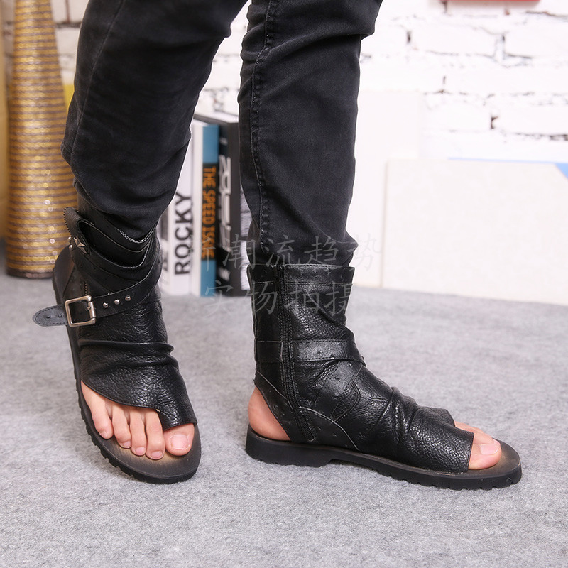 Flip Flop Solid Summer Open Toe Male boot Sandals Buckle Strap Gladiator Men Casual Shoes Breathable Handmade Comfort Men Shoes sandals men fashion new brand buckle mens flip flop sandals casual slippers brown summer beach sandals men shoes breathable