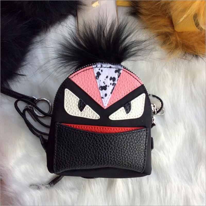 100% GENUINE LEATHER Brand Monster Leopard Grain Fox Fur Backpacks Designer Quality Luxury Bag Star Style Custom Bags red black
