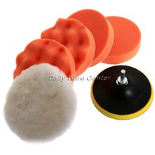 New 7pcs 5 Inch Buffing Pad Auto Car Polishing Sponge Wheel Kit with M10 Drill Adapter High Gross Buffer for Wash Detailing