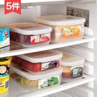 Resistente al calore scatola di pranzo di plastica frutta frutta e verdura scatola 5 pz/set forno a microonde lunch box frigorifero scatola sigillata