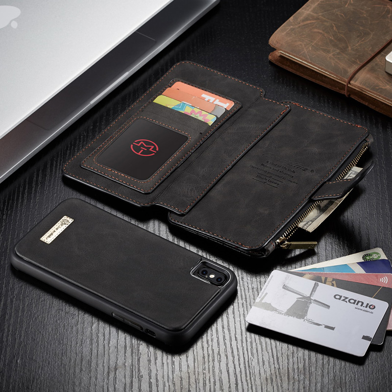 Luxury Magnetic Genuine Leather Case for iPhone X XS Max XR SE 5S Multifunctional Flip Wallet Case Card for Iphone X 8 6S 7 Plus