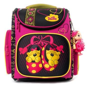 898d6bbebde6 Delune мультфильм школьные сумки медведь шаблон рюкзак для девочек  мальчиков детские ортопедические рюкзаки Начальная mochila escolar класс 1-3