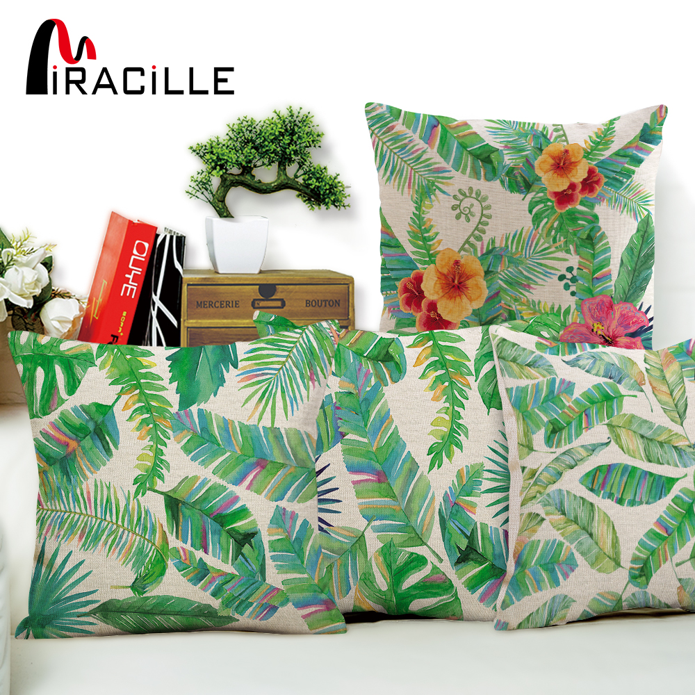 Miracille Cotton Linen Pillow Cover Tropical Plant Leaves Decorative Throw Pillow Case Cushion Cover Car Sofa Home Decor