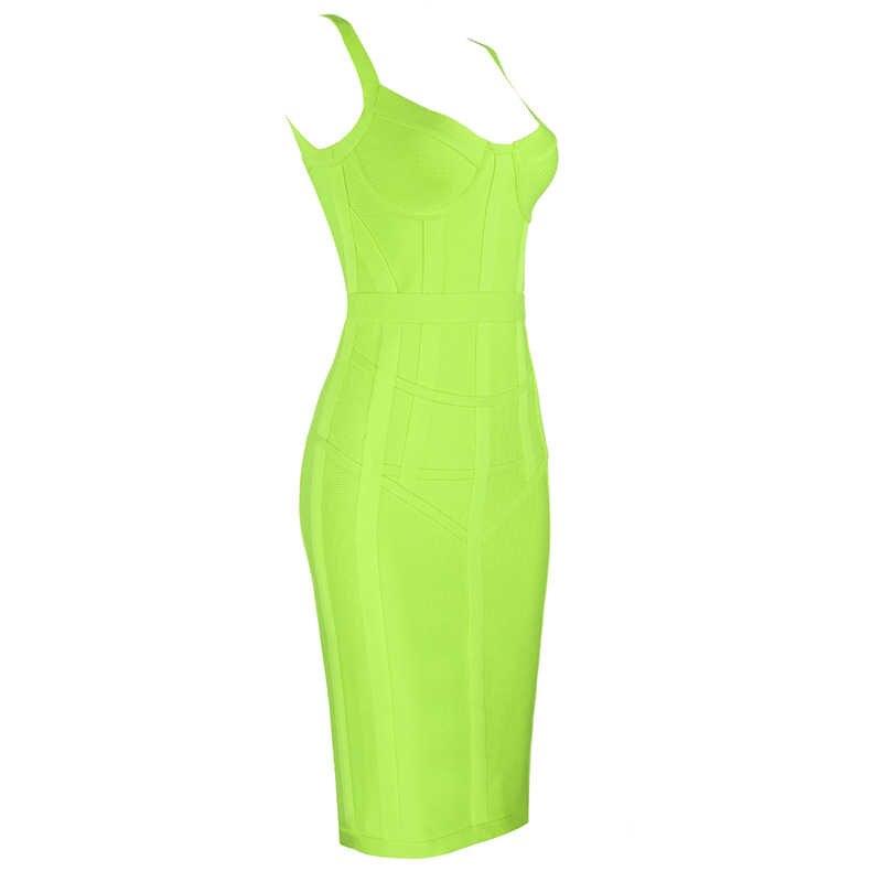 Новое поступление Для женщин сексуальное летнее платье модное неоновый зеленый желтый Бандажное платье Элегантное облегающее вечерние платье Vestido