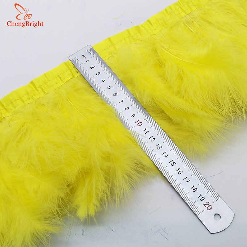 ChengBright Nice 1 yardas plumas de pavo ribete de tela lateral de plumas de faisán de pollo ropa de boda cinta de plumas