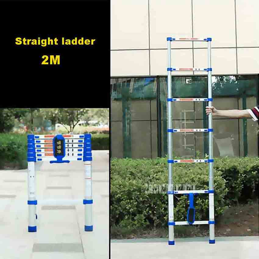 2M High-quality Thicken Aluminium Alloy Single-sided Straight Ladder Portable Household 7-Step Extension Ladder JJS511 Hot Sale