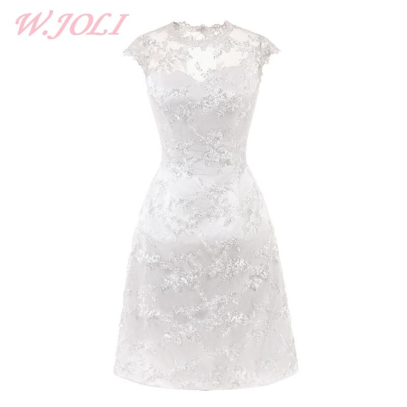 W.JOLI trumpoji vakarinė suknelė elegantiška nėrinių aplikacija - Ypatinga proga suknelės