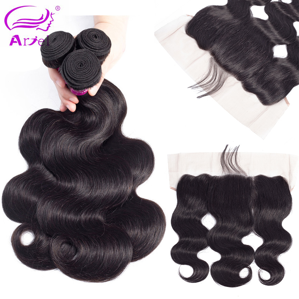 ARIEL Mongolian Body Wave Human Hair Weave 2 Or 3 Bundles With 13 4 Lace Frontal