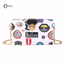 CUMYKA Chain Lock Small Bag Women New Fashion Box Cartoon Letter Printing Shoulder Mini Crossbody Hard Handbags Party Lady