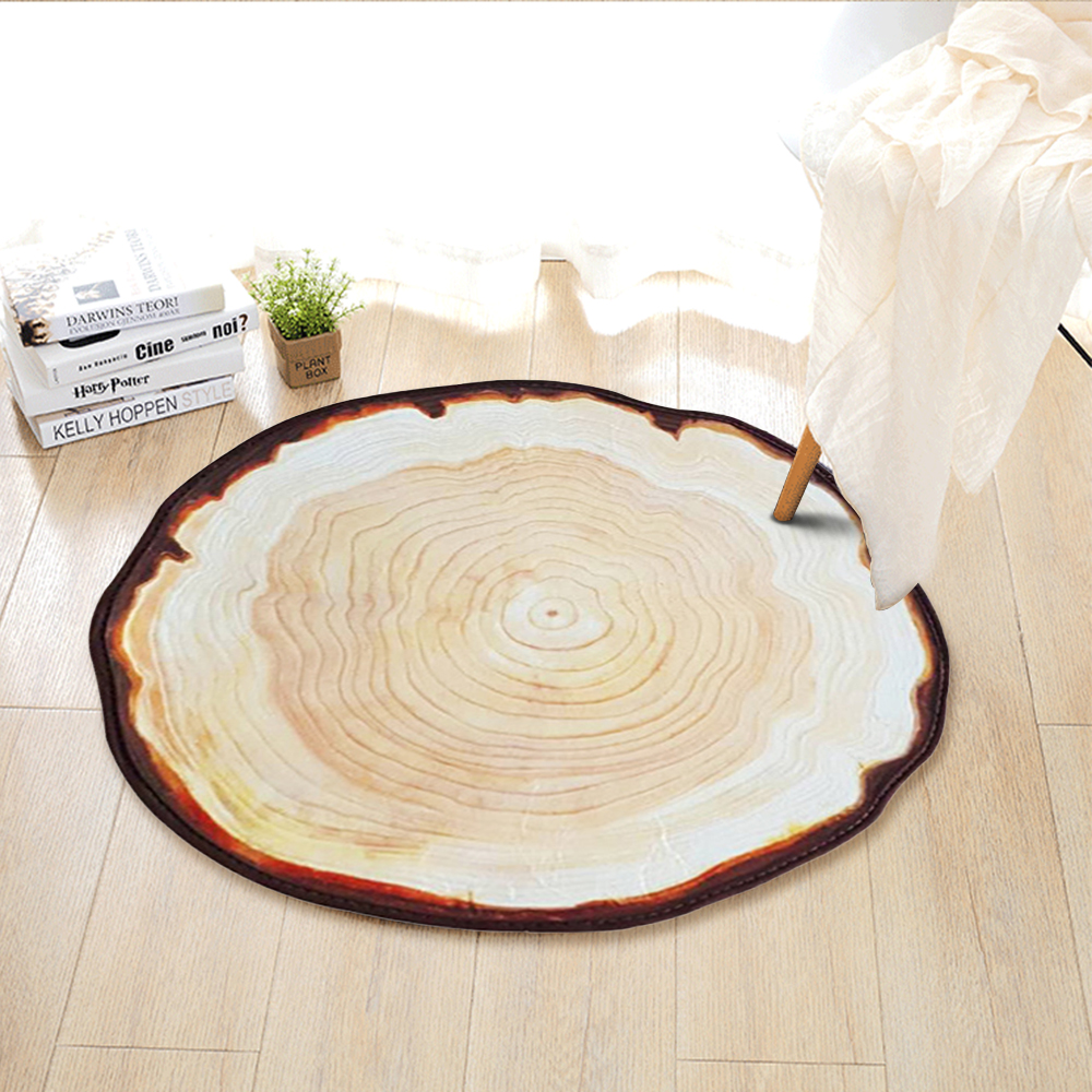 Yazi Country Style Tree Annual Ring Carpet Anti Slip Floor Mat Living Room  Area Rug Tapete
