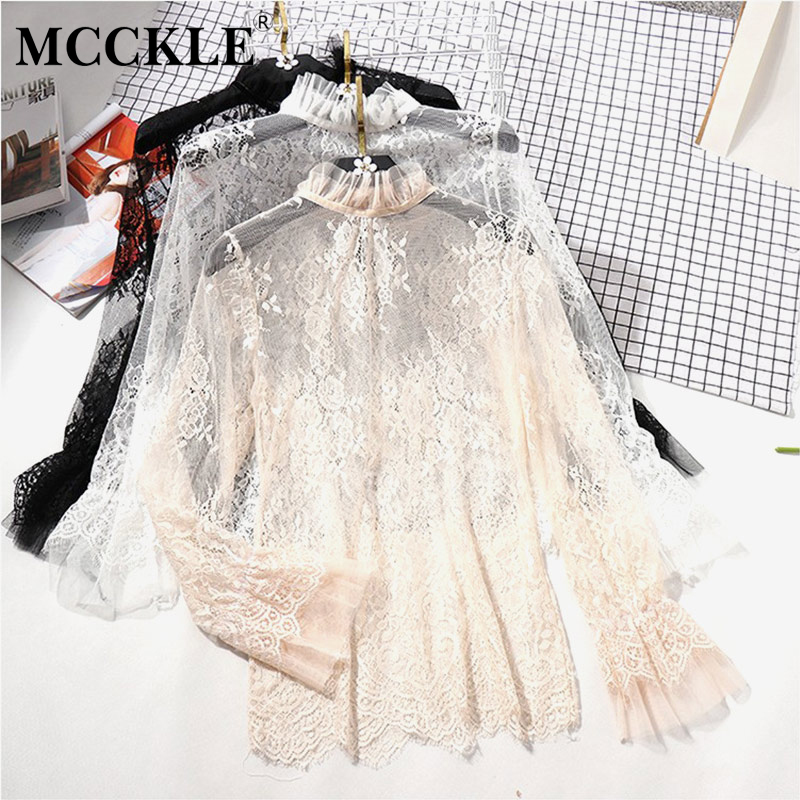 Women's Lace Ruffled Transparent Blouse Shirt Long Sleeve Crochet Black Spring Shirts Women 2019 Summer Sexy Blouses And Tops