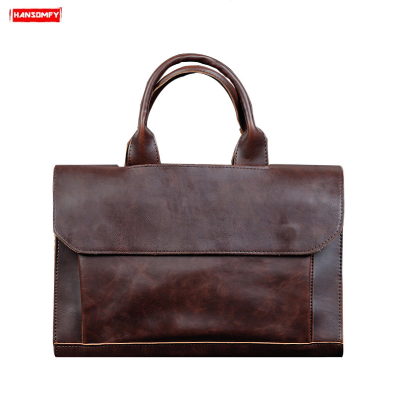 2019 New Men's Briefcase Business Laptop Handbag Male Crazy Horse Leather Shoulder Slung Bag Computer Briefcase Messenger Bags