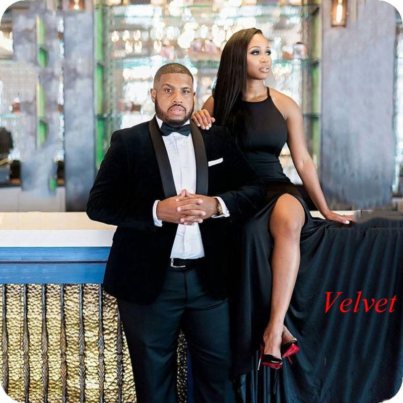 Smoking Jacket Men Suits For Wedding 2019 Black Velvet Groom Tuxedo Best Man Blazers Terno Masculino 2piece Costume Homme Ternos