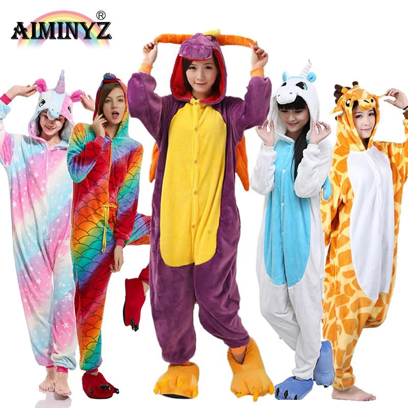 AIMINYZ Wholesale Autumn Winter Unicorn Pegasus Stitch Panda Animal Flannel   Pajamas     Sets   Cartoon Sleepwear For Adult Women Men