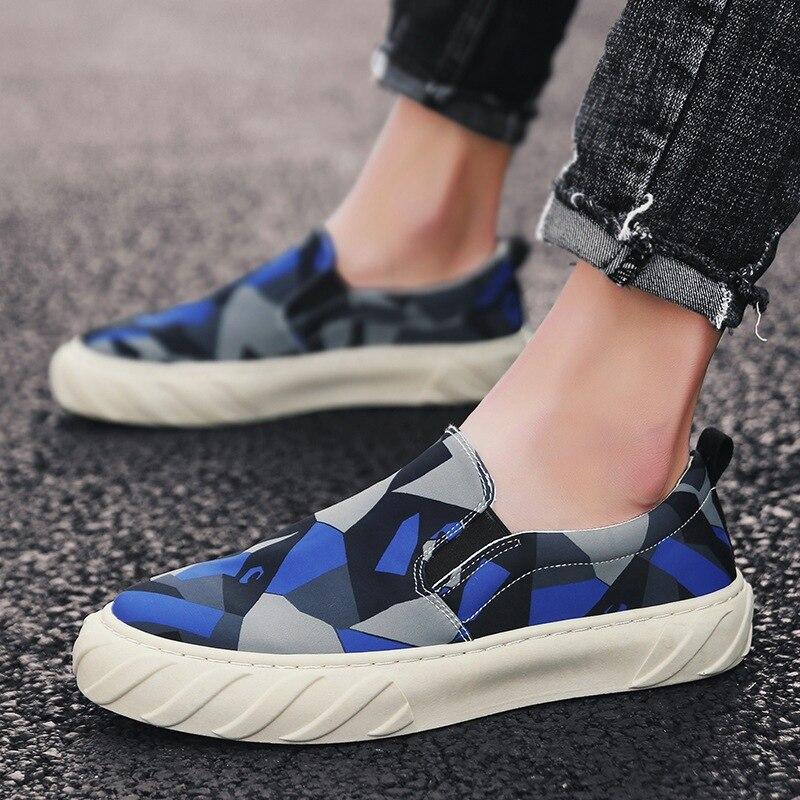 Baskets d'été pour hommes chaussures de toile pour hommes sans lacet chaussures respirantes décontracté mocassins