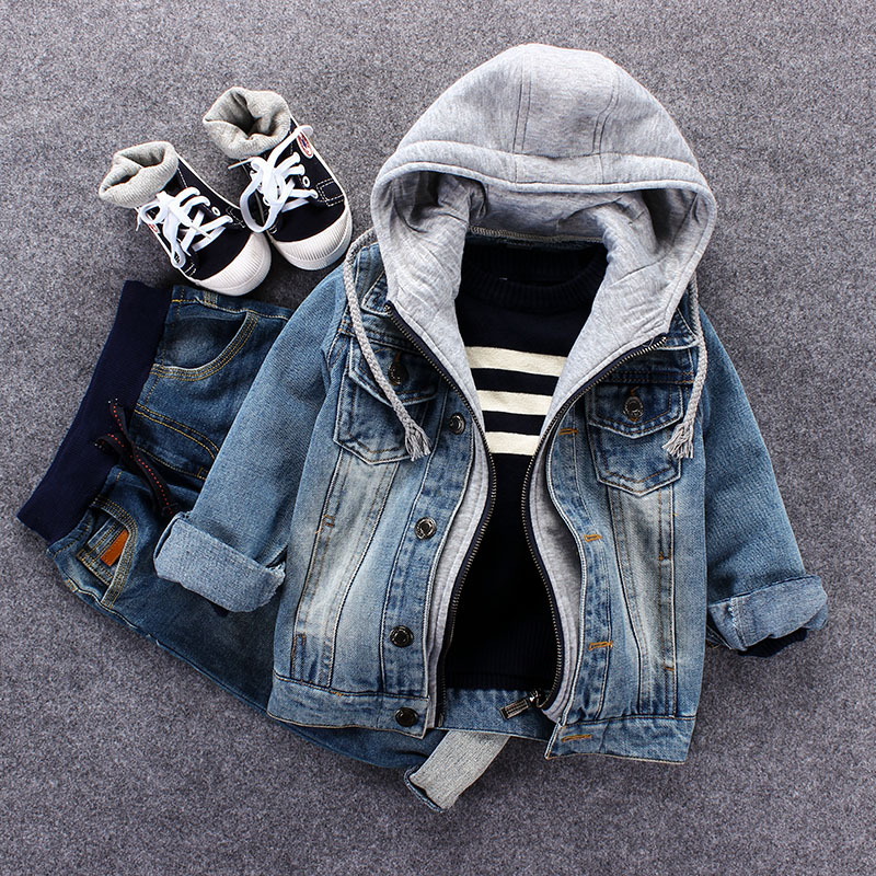2018 Spring Boys Children Fashion Loose Single Breasted Washed Vintage Hooded False 2 Piece Jeans Coats Kids Denim Outwear Baby single breasted dual pockets denim skirt