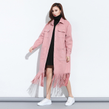 Europen  Women 's Lapel Pink Big Size Coat 2017 Spring Long Fringed Suede Tassel Windbreaker Coat Fashion Lady Clothing