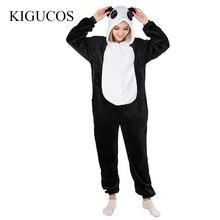 f77a9538e7443 KIGUCOS Прекрасный Panda Домашняя одежда с рисунком все в одном с капюшоном  Для женщин пижамы милые
