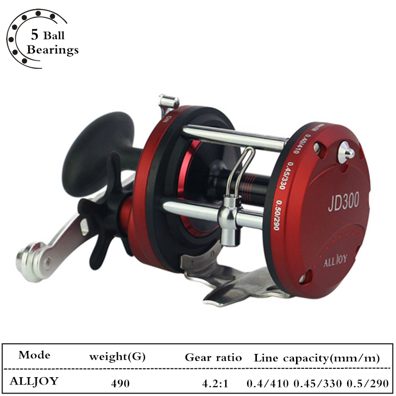 5BB Trolling Reel Fishing 4.2:1 Drag Power 8KG Right Hand Casting Sea Fishing Reel Fresh/Salt Water Baitcasting Drum Wheel Coil metal round jigging reel 6 1 bearing saltwater trolling drum reels right hand fishing sea coil baitcasting reel