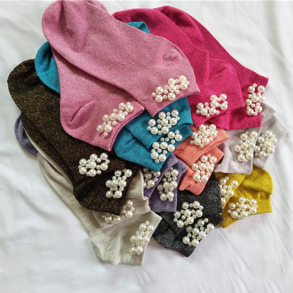 Fashion Shimmer Faux Pearl Beading Breathable Cotton Women Elastic Short Socks Hipster Skatebord Ankle Funny Socks Female Gift