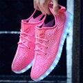 Плюс Размер Женщины LED Обувь 2017 Горячие Красочные Женщины Квартиры Led светящиеся Обувь Унисекс USB Зарядки ИНДИКАТОР Загорается Обувь Для Взрослых