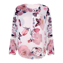 Chiffon Womens Tops And Blouses Plus Size 5XL Print Floral O-neck Long Sleeve Blouse Femme Office Lady Fashion Blusa Feminina