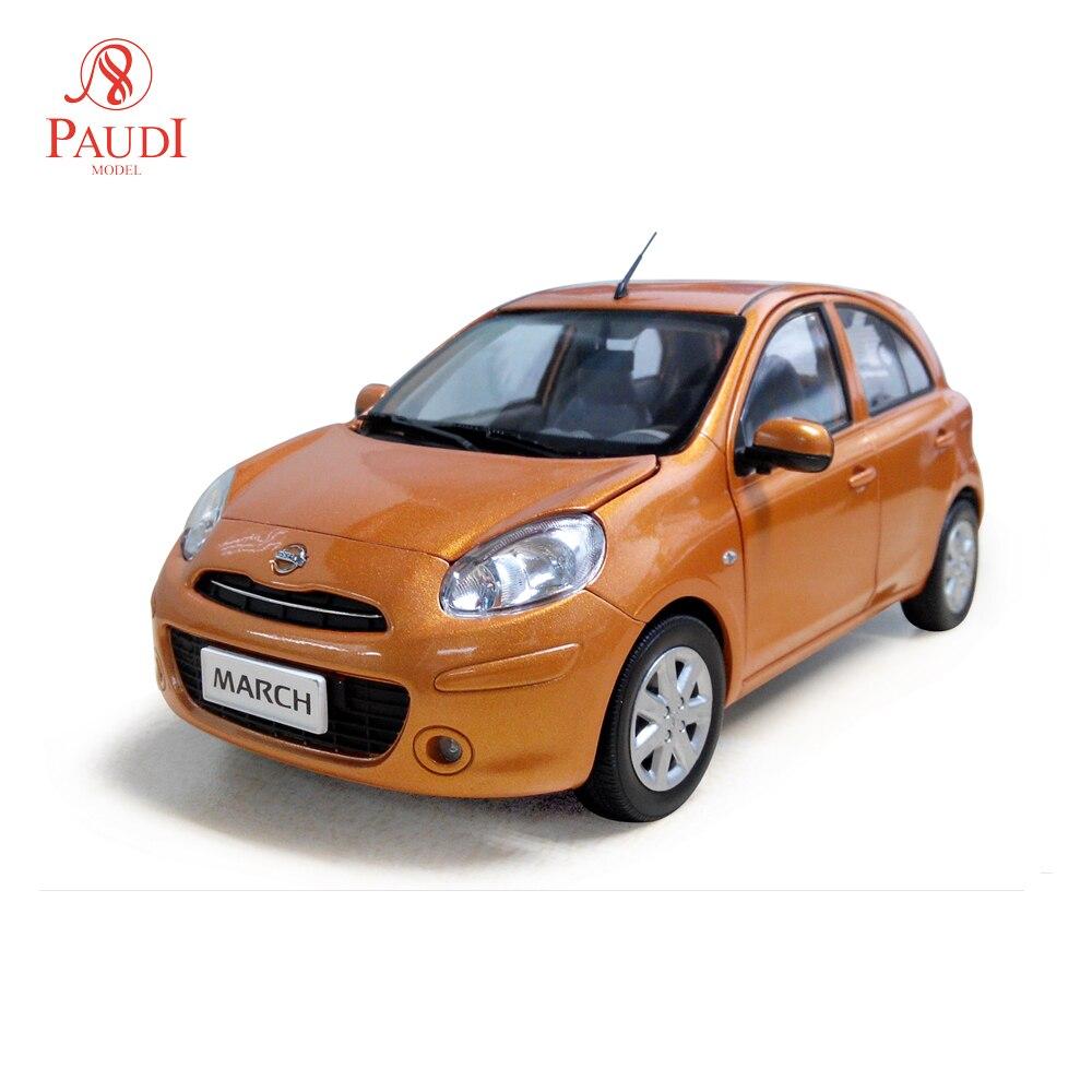 Paudi modèle 1/18 1:18 échelle Nissan March Micra Orange moulé sous pression modèle voiture jouet modèle voiture portes ouvertes
