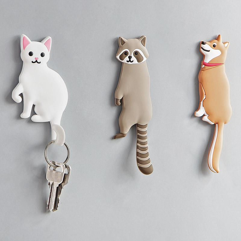 Cartoon Animal Cat Hook Multifunctional Door Back Wall Decoration Nail-free Key Hanger Portable Seamless Cute Hook Mx12251109