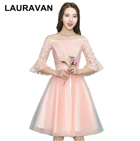 elegant short formal off shoulder peach   bridesmaid     dress     dresses   for special occasions 2019 new arrival gown wedding party