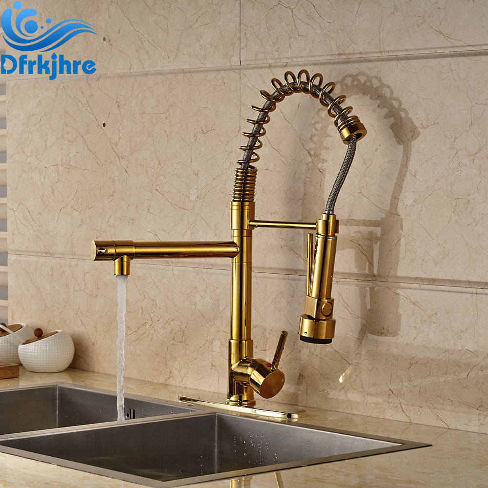 Gold Finished Deck Mounted Swivel Spout Kitchen Sink Faucet Pull Out Mixer Tap With Cover Plate цена