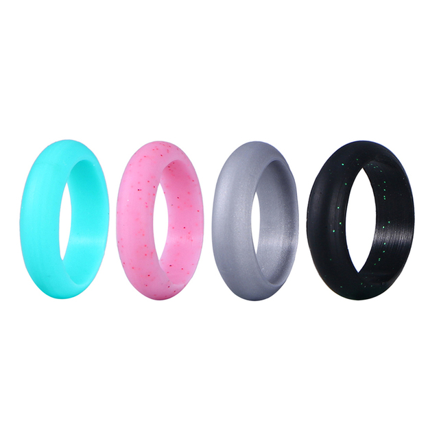 Pixnor 4pcs Set Women S Silicone Wedding Ring Rubber Engagement