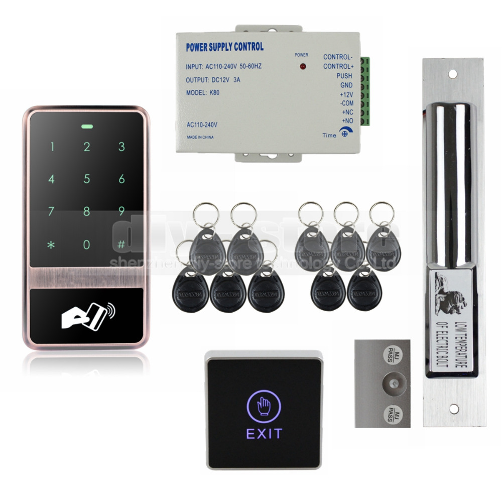 DIYSECUR 125KHz RFID Reader Password Touch Keypad Electric Bolt Lock Door Access Control Security System Kit diysecur electric lock waterproof 125khz rfid reader password keypad door access control security system door lock kit w4