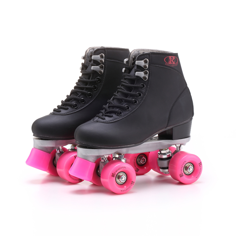 RENIAEVER  double roller skates, 4 skating shoe, pink wheels, black shoes ,free shipping hot sale free shipping children s roller skates pink and blue color