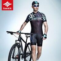 Santic Hommes Cyclisme Court Jersey Pro Fit avec Anti-slip Manches Manchette Vélo De route VTT Vélo D'équitation À Manches Courtes Top Robe pour Homme