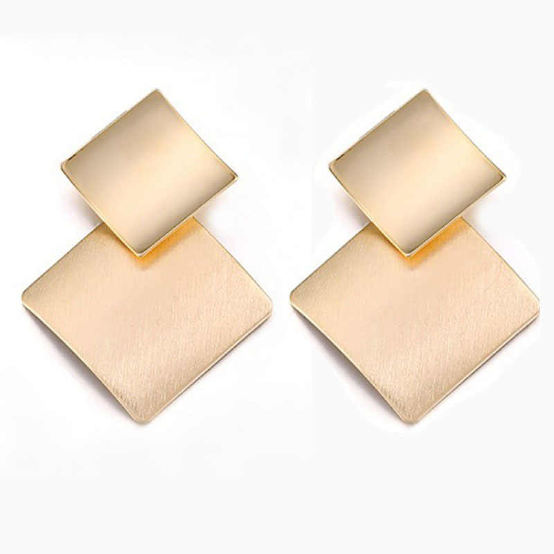 statement earrings 2018 woman brushed square drop earrings exaggerated large earrings for women clothing accessories  A317-A318