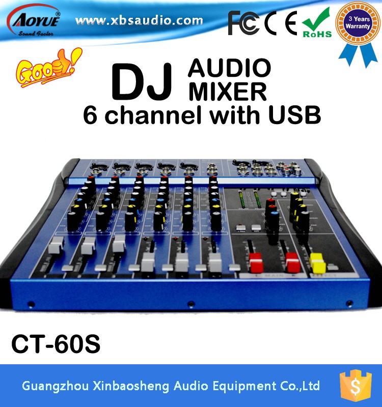 Manufacturer Supply CT-60S 6 channels dj music mixer with the amplifier xbox music mixer